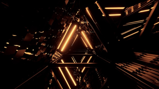 Triangular-shaped futuristic hallway with glowing golden lights