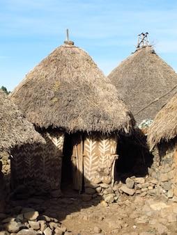 アフリカ、エチオピアの部族の村