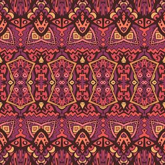 部族ヴィンテージ抽象的な幾何学的な民族のシームレスなパターン装飾的なインドの曼荼羅アートトレンド色テキスタイルデザイン