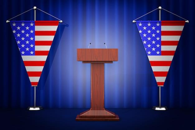 Речи трибуны трибуны с микрофонами возле флагов сша на белом фоне. 3d рендеринг