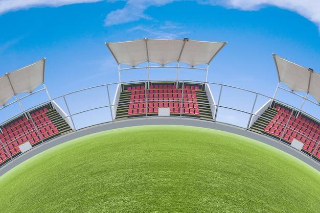 Tribune seat on the stadium sport with blue sky background