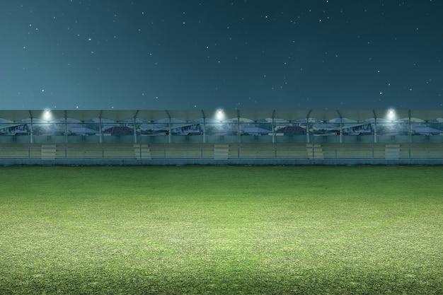 Tribune seat on the stadium sport with the night scene background