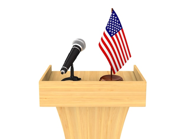 Tribune with microphone and american flag on white.