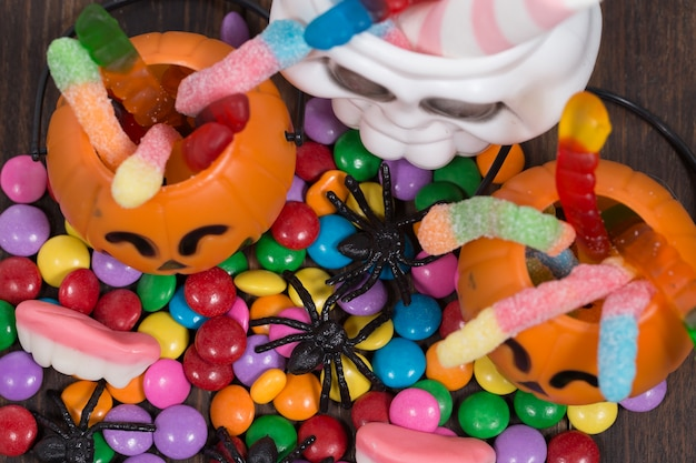 Tric or treat baskets and sweets