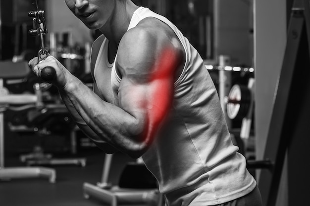 Triceps specialization in bodybuilding. muscular man during workout in the gym.