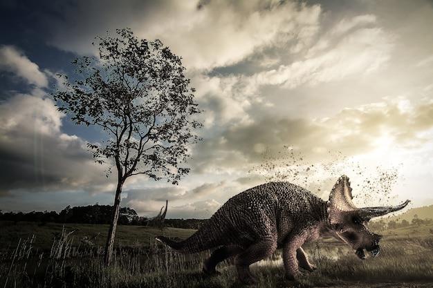 ジュラ紀後期に生息するトリケラトプス恐竜