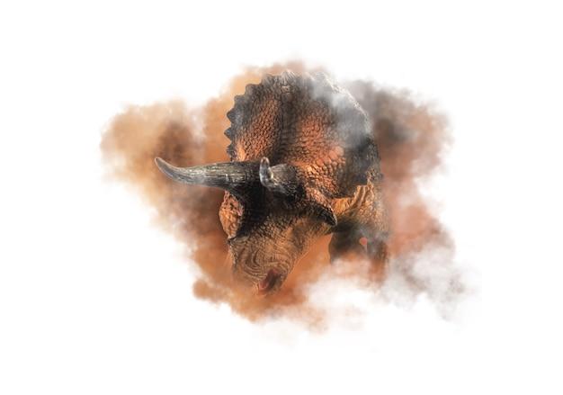 トリケラトプス、煙の背景に恐竜