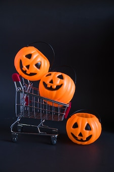 Trick or treat buckets in trolley