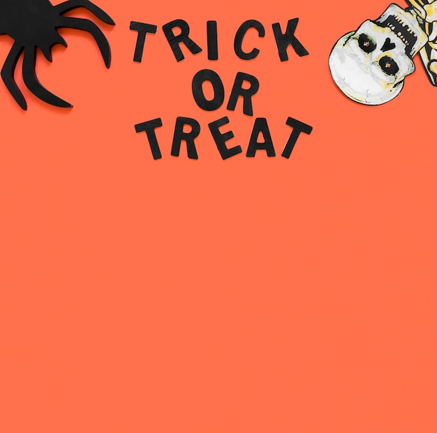 Trick or treat for halloween with copy space