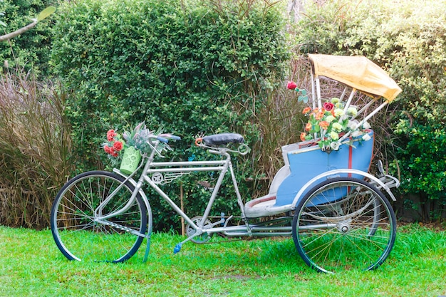 Tricycle in the garden for decorate or take a picture in public park