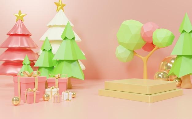 木とプレゼントで製品をプレゼンテーションするための三次元の幾何学的な表彰台