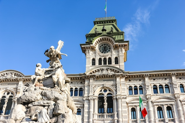 Trieste, italy. view of comune di trieste building in sunny day.