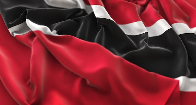 Trinidad and tobago flag ruffled beautifully waving macro close-up shot