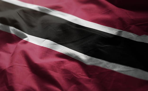 Trinidad and tobago flag rumpled close up