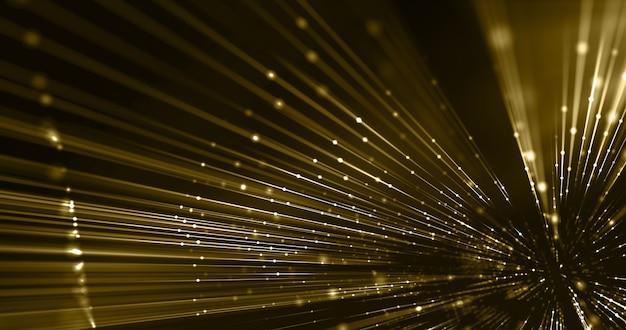 トリップゴールデンスレッドとドット、ledファイバー光線、ファッションの背景、贅沢なコンセプト。 3dレンダリング。