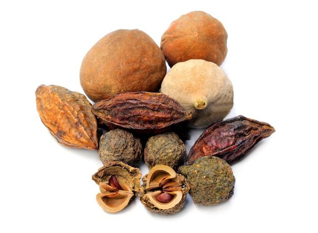 Triphala-ayurvedic fruits on white background
