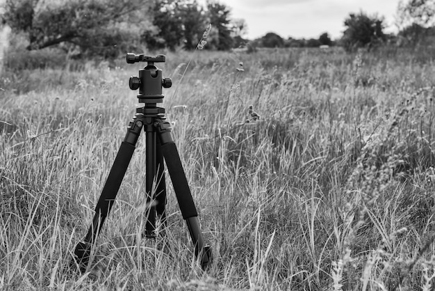 A tripod stands in the grass.