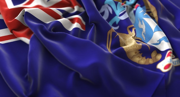 Tristan da cunha flag ruffled beautifully waving macro close-up shot