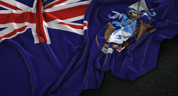 Tristan da cunha flag wrinkled on dark background 3d render