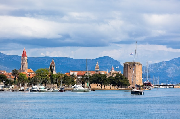 Trogir is a historic town and harbour on the adriatic coast in croatia