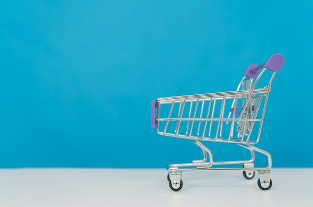 A trolley on blue background