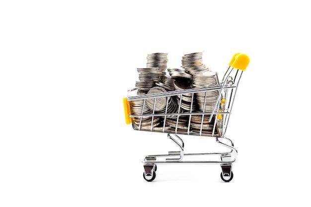 トロリー・オン・ホワイト将来の投資ショッピングの概念