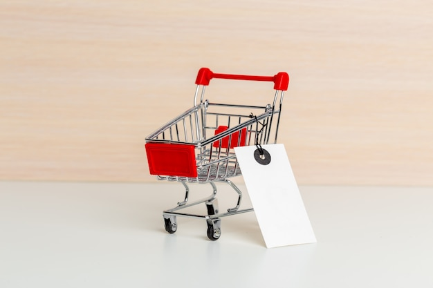 Trolley shopping cart with price tag
