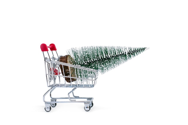 A trolley with an artificial christmas tree