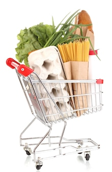 Trolley with food isolated on white