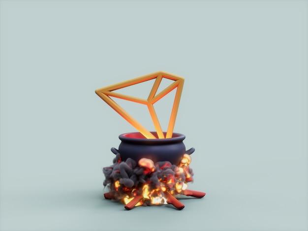 트론 가마솥 화재 요리사 암호화 통화 3d 그림 렌더링