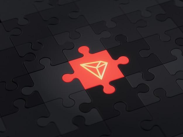Tron different unique jigsaw puzzle piece crypto currency 3d illustration concept render