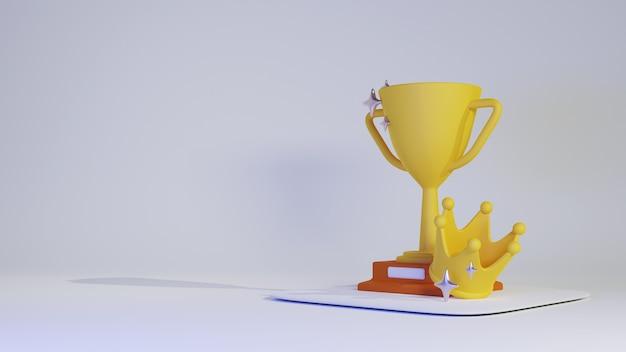 Трофей и корона победителя в 3d иллюстрации. премиум фото