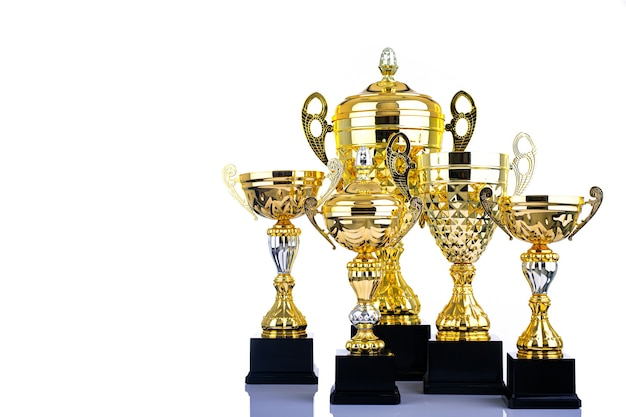 Trophy awards object for competition for your success with white background.