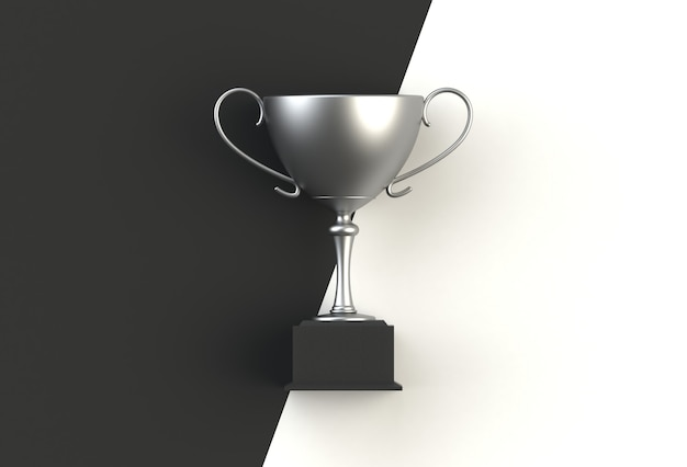 Trophy on black with white plank, 3d rendering