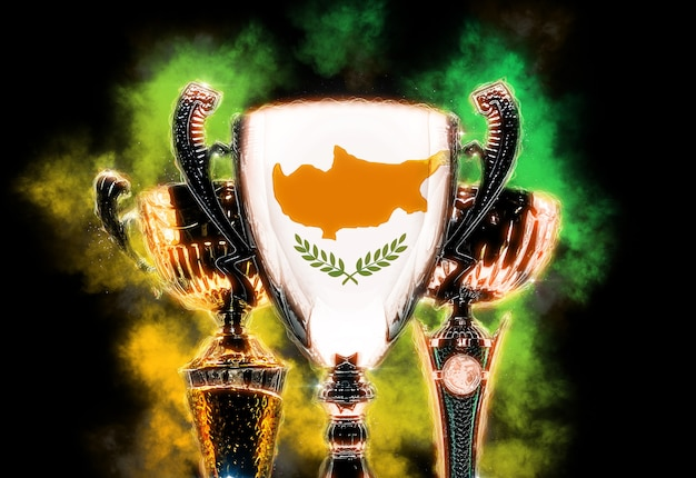 Trophy cup textured with flag of cyprus. digital illustration.