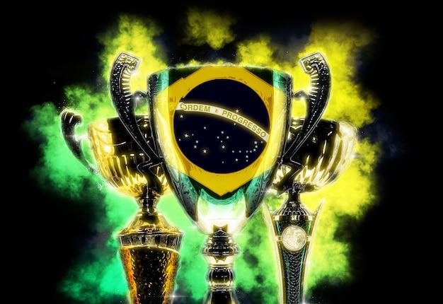 브라질의 국기와 질감 트로피 컵입니다. 디지털 그림입니다.