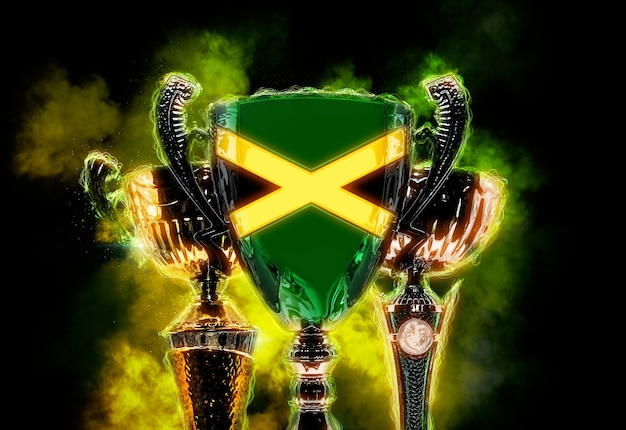 자메이카의 국기와 질감 트로피 컵입니다. 2d 디지털 그림입니다.