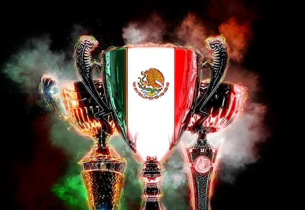 メキシコの旗でテクスチャード加工されたトロフィーカップ。 2dデジタルイラストレーション。