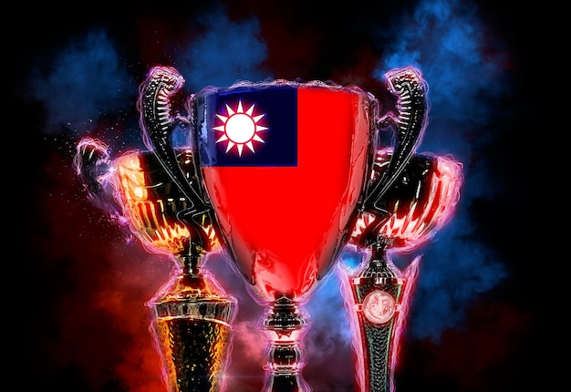 대만 국기가 새겨진 트로피 컵. 2d 디지털 그림입니다.