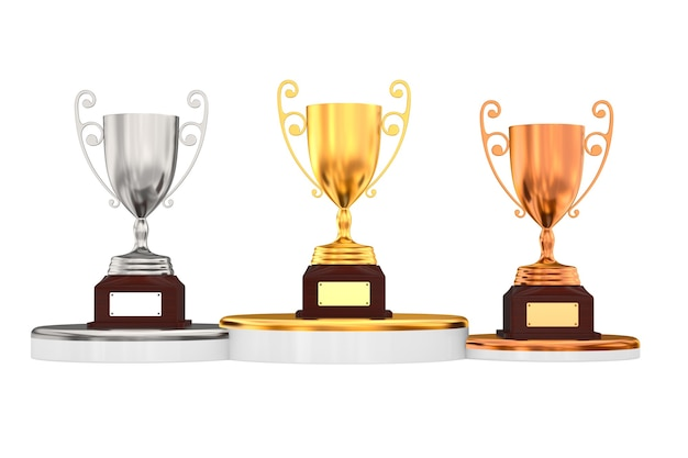 Trophy cups on white background. isolated 3d illustration