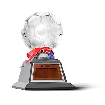 白で隔離されるサッカー大会のチャンピオンのためのトロフィー
