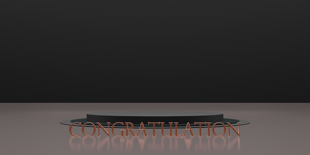 Trophy and victory podium background congratulations 3d illustration