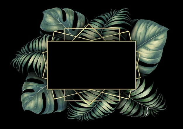 Tropic palm leaves frame