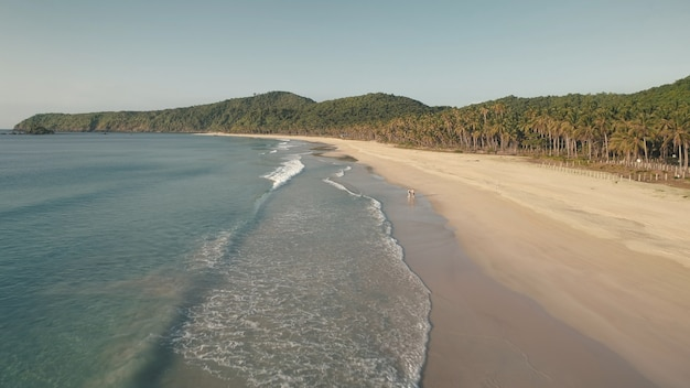 오션 베이 공중의 트로픽 바다. 관광객 모래 해변에서 월트. 열대 야자수가있는 산