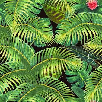 熱帯の背景。エキゾチックな植物、緑の葉、枝、黒の背景にピンクの花。水彩手描きイラスト。ラッピング、壁紙、テキスタイル、ファブリックのシームレスなパターン。