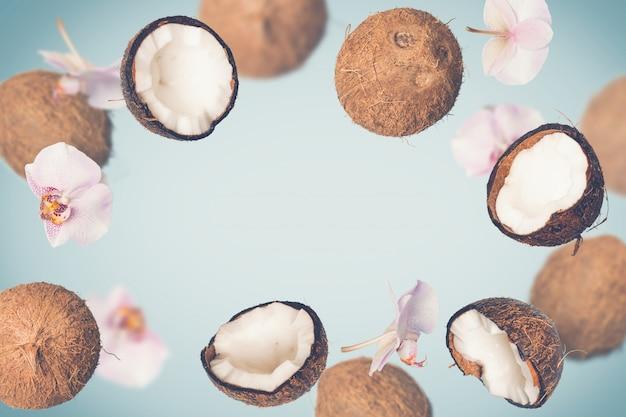 떨어지는 코코넛과 열 대 배경