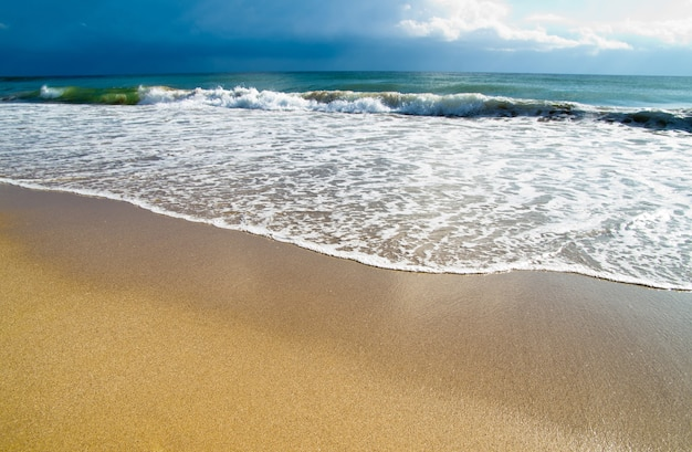 美しい夕日の熱帯のビーチ