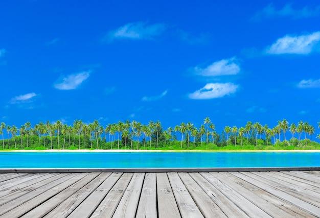 몇 야자수와 푸른 라군이있는 몰디브의 열대 해변