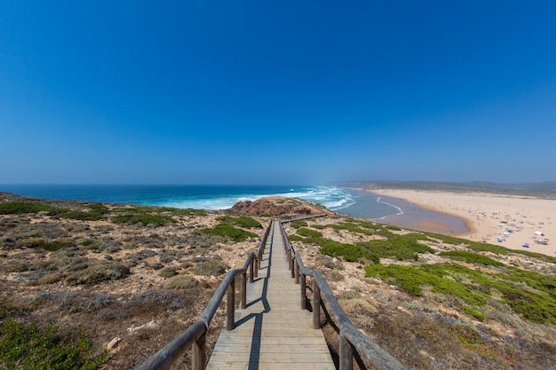 Tropical beach perfect for spending summer afternoons in algarve, portugal