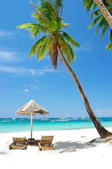 Пейзаж тропического пляжа с кокосовыми пальмами и бирюзовым морем. остров боракай, филиппины